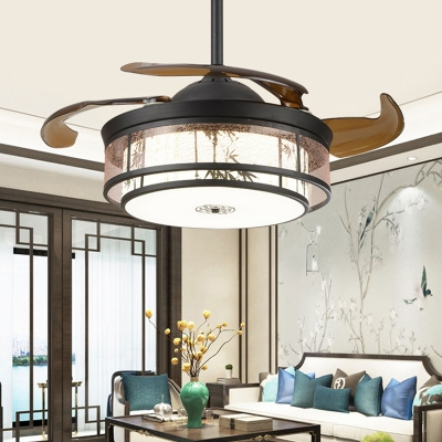 Traditional Drum Ceiling Fan LED Metal Semi Flush Mount Light in Black, Wall/Remote Control/Frequency Conversion