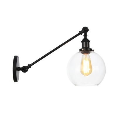 """Vintage Orb Sconce Light 1 Light Clear Glass Wall Lighting Fixture in Black/Brass/Bronze with Arm, 8""""/12"""" Long, Black;bronze;brass;chrome;copper, HL576051"""