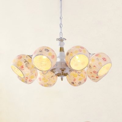 White 3/5/6 Lights Chandelier Lamp Mediterranean Stained Art Glass Sphere Suspension Pendant Light