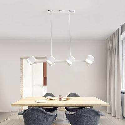 White Linear Chandelier Pendant Light Nordic 8 Lights Metal Hanging Ceiling Light