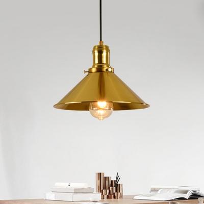 1 Light Conical Pendant Ceiling Light Vintage Brass Metal Hanging Lamp for Living Room, HL574998