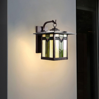 1 Light Sconce Light Fixture Tiffany Stylish Lantern Stained Art Glass Wall Mounted Lighting in Green for Outdoor