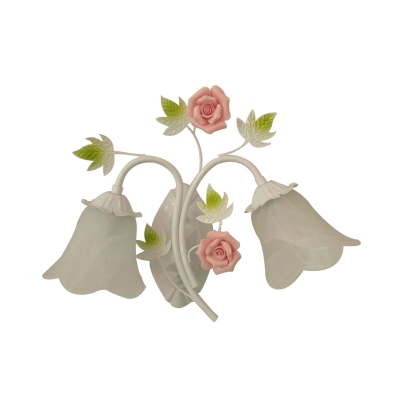 2 Bulbs Wall Sconce Traditional Floral White Glass Wall Light Fixture for Living Room