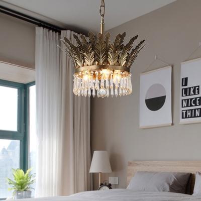3/4 Bulbs 2-Tier Pendant Light Vintage Gold/Antique Bronze Crystal Chandelier Lamp for Bedroom