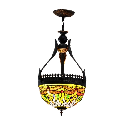 3 Lights Chandelier Light Fixture Tiffany Bowl Stained Glass Pendant Lighting in Orange/Green with Dragonfly Pattern