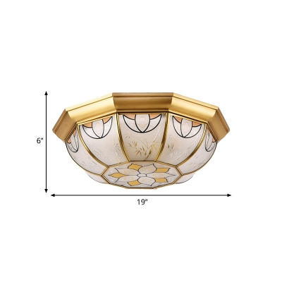 4-Light Flush Light Vintage Dome Frosted Glass Ceiling Flush Mount in Brass for Dining Room
