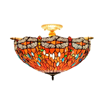 5 Heads Living Room Ceiling Mounted Fixture Tiffany Blue/Red Flush Mount Lamp with Dragonfly Stained Glass