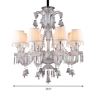 8-Bulb Living Room Chandelier Lighting Beige Pendant Light Fixture with Cone Fabric Shade