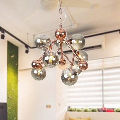 9 Lights Living Room Ceiling Lamp Industrial Copper Chandelier Pendant Light with Globe Amber/Clear/Smoke Gray Glass Shade, Clear;amber;smoke, HL574669