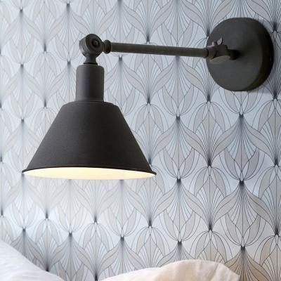 Black/White 1 Light Wall Mounted Light Fixture Vintage Metal Cone Sconce Lighting for Living Room, HL575953