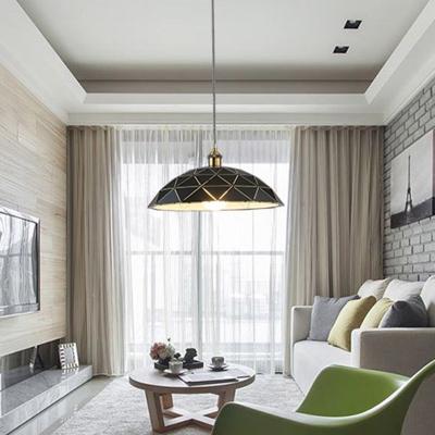 Black/White Dome Pendant Ceiling Light Industrial Metal 1 Light Living Room Hanging Lamp, // Wide, Black;gold;white, HL574249