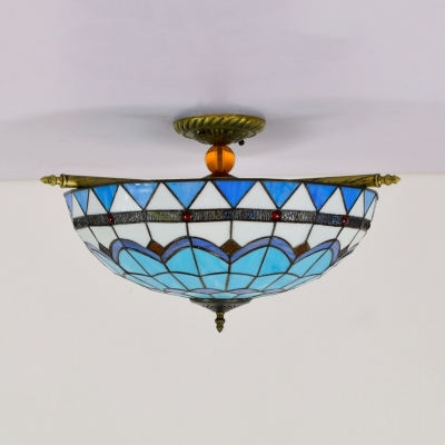 Blue/White 5 Bulbs Ceiling Mount Light Fixture Mediterranean Hand Rolled Art Glass Dome Flush Mount Lighting, 21.5