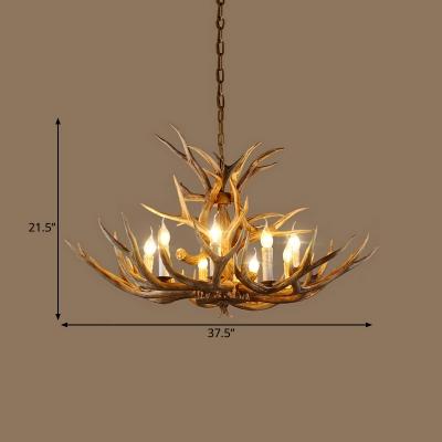Branch Pendant Chandelier Rustic 6/8/12 Bulbs Resin Hanging Ceiling Light in Brown,16