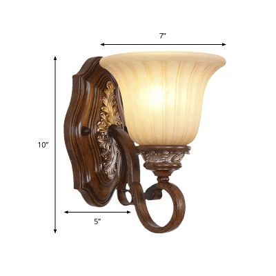 Brown Bell Shaped Vanity Lighting Fixture Traditional Opal Ribbed Glass 1 Light Indoor Sconce
