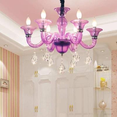 Candelabra Chandelier Light Fixture Modern Hand-Cut Crystal 6 Heads Purple Suspension Pendant for Restaurant