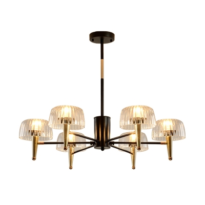 Clear Glass Tapered Chandelier Light Contemporary Style 6/8/10 Lights Gold Finish Hanging Ceiling Light