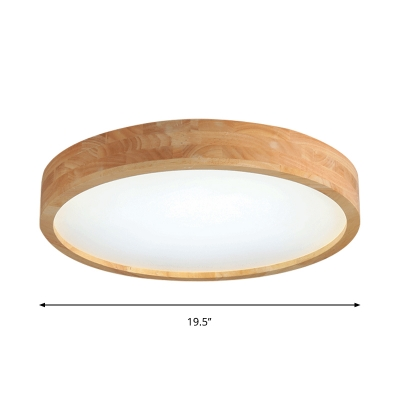 Contemporary Drum Shaped Wood Flush Light Fixture 12