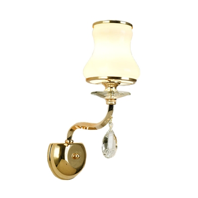 Curved Living Room Sconce Light Traditional Crystal 1/2 Heads White Wall Lighting Fixture