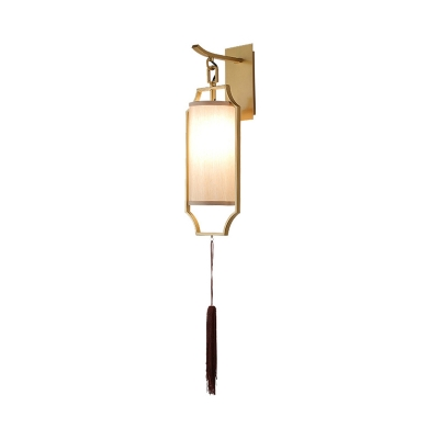 Gold 1 Light Wall Lamp Traditional Metal Cage Wall Mount Light with Fabric Shade