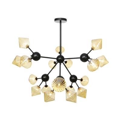 Metal Sputnik Pendant Chandelier Modern 18 Bulbs Black Hanging Light Kit with Amber Glass Shade