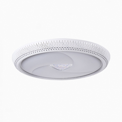 Round Ceiling Mounted Fixture Contemporary Metal White LED Flush Mount Lighting, 23