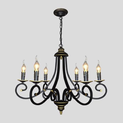 Sputnik Chandelier Lighting Vintage Metal 3/5/6 Bulbs Ceiling Suspension Lamp in Black