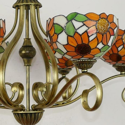 Sunflower Chandelier Lighting Tiffany Stained Glass 3/6/8 Lights Antique Brass Hanging Ceiling Light, 25.5
