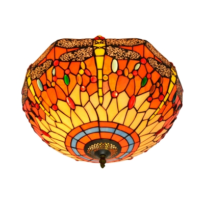Tiffany Dragonfly Ceiling Light Fixture 3 Bulbs Stained Glass Flush Mount Lighting in Blue/Yellow/Red
