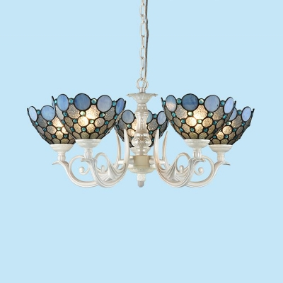 White Beaded Chandelier Light Fixture Baroque 3/5 Lights Stained Glass Pendant Lighting for Living Room