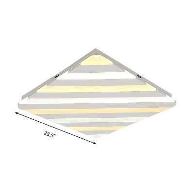 White Square Ceiling Light Fixture Simple Style Acrylic LED Flush Mount Lighting, 19.5