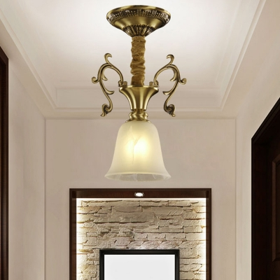 1 Bulb Bowl/Dome/Trapezoid Hanging Pendant Light Colonial Brass Frosted Glass Ceiling Suspension Lamp for Porch
