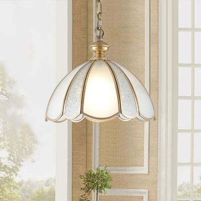 1 Bulb Scalloped Hanging Pendant Light Colonial Frosted White Glass Ceiling Suspension Lamp for Dining Room