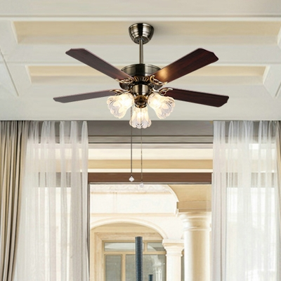 3/5 Bulbs Flared Ceiling Fan Lighting Traditional Dark Brown Frosted White Glass Semi Flush Mount for Living Room