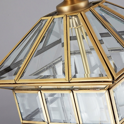 3 Heads Chandelier Lighting Colonialism Clear Glass Lantern Pendant Ceiling Light for Yard, 10