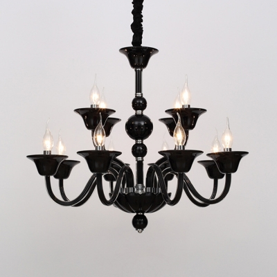6 Heads Hanging Chandelier Vintage Curvy Arm Clear/White/Black Glass Suspension Pendant Light