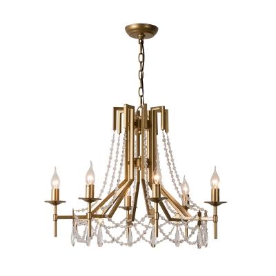 Beaded Chandelier Lighting Contemporary Crystal 6 Bulbs Brass Suspension Pendant Light