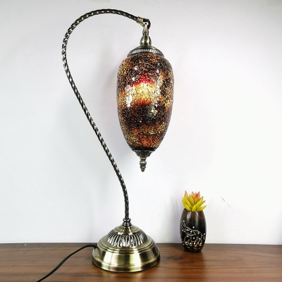 Black Crackle Glass Elliptical Nightstand Lamp Moroccan Single Head Bedroom Table Light in Bronze