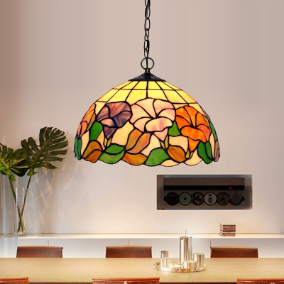 Blossom Suspension Pendant 1 Light Red/Pink/Yellow Stained Glass Mediterranean Hanging Light Kit for Dining Room, Green;pink;red;yellow, HL583945