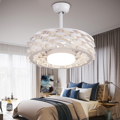 Circle PC Ceiling Fan Traditionalist LED Living Room Semi Flush Mount Light Fixture in White/Gold/Coffee
