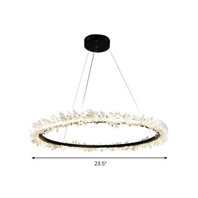 Circular Hanging Chandelier Contemporary Crystal 16
