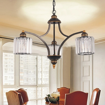Clear Cylinder Chandelier Light Fixture Traditional Three Sided Crystal Rod 3/5/6 Heads Living Room Hanging Light Kit, HL580852