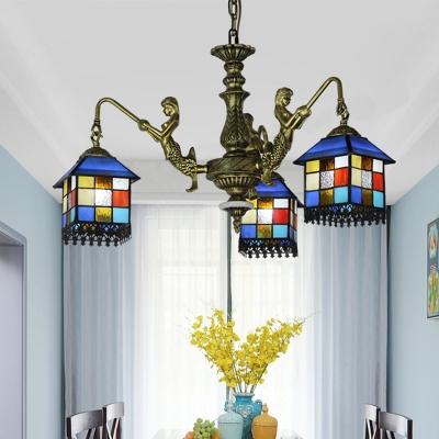 Cut Glass House Chandelier Lamp Mediterranean 3/5/9 Bulbs Blue Down Lighting Pendant for Bedroom