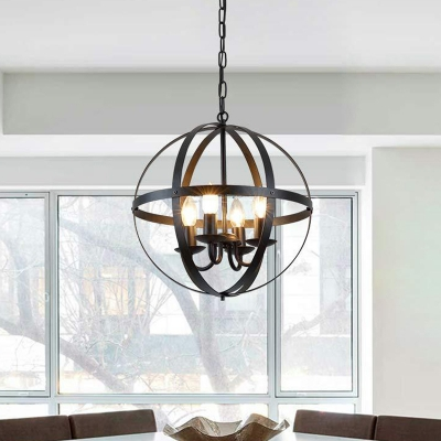 Globe Metal Pendant Lighting Industrial 4 Lights Dining Room Chandelier Hanging Light Fixture in Black