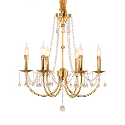 Gold Curvy Pendant Chandelier Lodge Crystal 6 Lights Living Room Ceiling Suspension Lamp