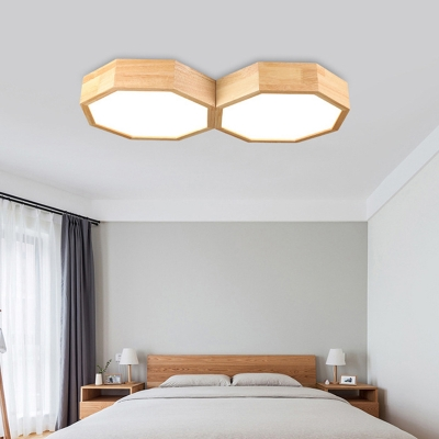 Octagon Flush Mount Lamp Minimalist Acrylic LED Wood Ceiling Light Fixture for Living Room