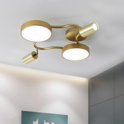 Postmodern Round Metal Ceiling Fixture LED Flush Mounted Lamp in Gold for Bedroom