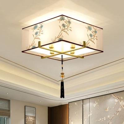 Square Fabric Ceiling Mounted Fixture Traditional 4 Bulbs Bedroom Flush Mount Ceiling Lamp in White