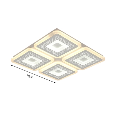 Square Flush Light Fixture Modernism Acrylic White 19.5