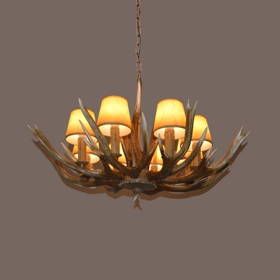 Traditional Branch Ceiling Chandelier Resin 4/6/8 Bulbs Pendant Light Fixture in Brown with Beige Cone Fabric Shade