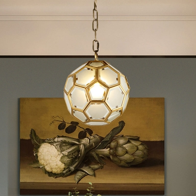 White Glass Globe Suspension Lamp Colonial 1 Head Bedroom Pendant Light Fixture